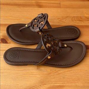 Tory Burch Miller Snake Print Logo Leather Sandals